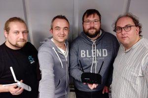 """Markus Hörster und Christian Cordes mit Chris Fiege und Lars Andresen von """"Freifunk Braunschweig"""" nach Episode 31"""