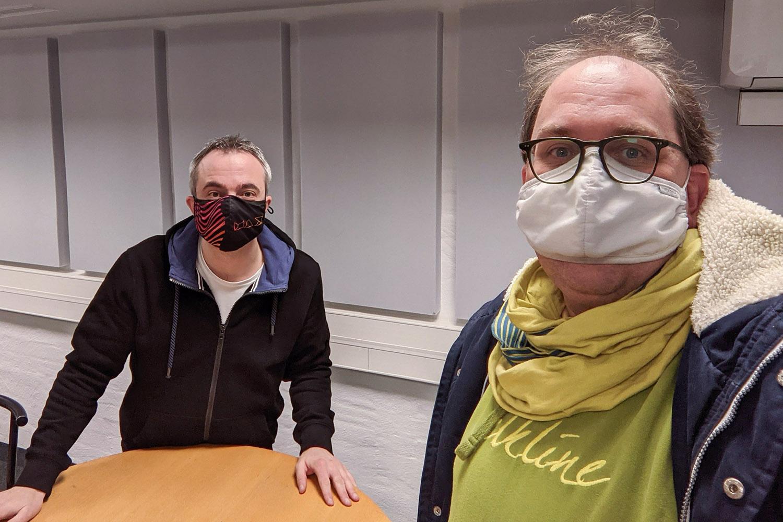 Markus Hörster und Christian Cordes im Studio von Radio Okerwelle in Braunschweig nach Logbuch Digitalien Episode 47