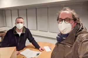 Markus Hörster und Christian Cordes im Studio von Radio Okerwelle in Braunschweig nach Logbuch Digitalien Episode 51